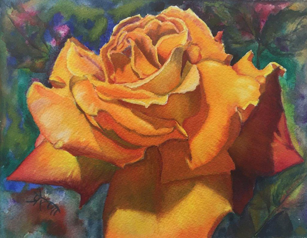 Orange Rose Watercolor Painting by Prerana Kulkarni - Doodlewash