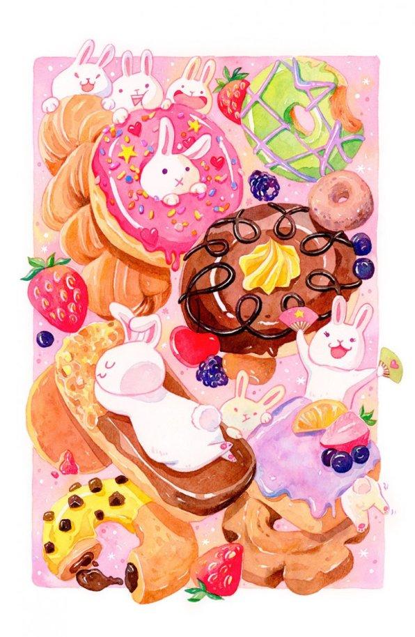 Donut Bunnies Illustration by Jiaqi He (PenelopeLovePrints) - Doodlewash