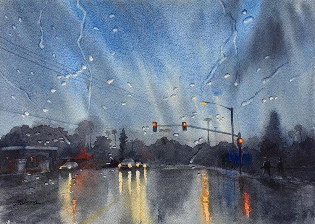 Rainy Evening Watercolor Painting by Mohana Pradhan - Doodlewash