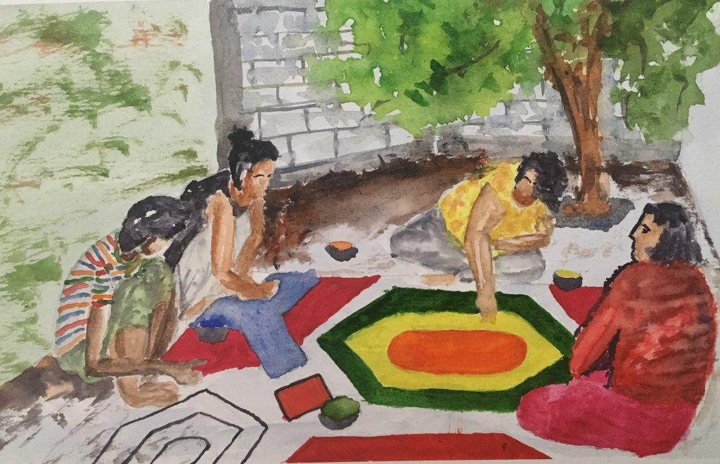 "#doodlewashmarch2019 #worldwatercolorgroup Topic : Family memory My famly memory is ""diwali r"