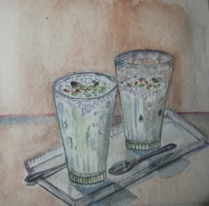 My favourite drink,'Lassi', a sweetened yoghurt smoothie served chilled and garnished wi