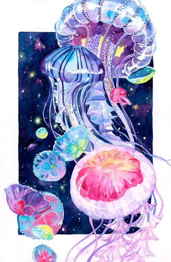 Jellyfish Illustration by Jiaqi He (PenelopeLovePrints) - Doodlewash