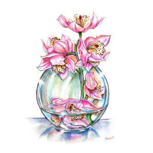 Pink Orchids In Vase Watercolor Print Detail