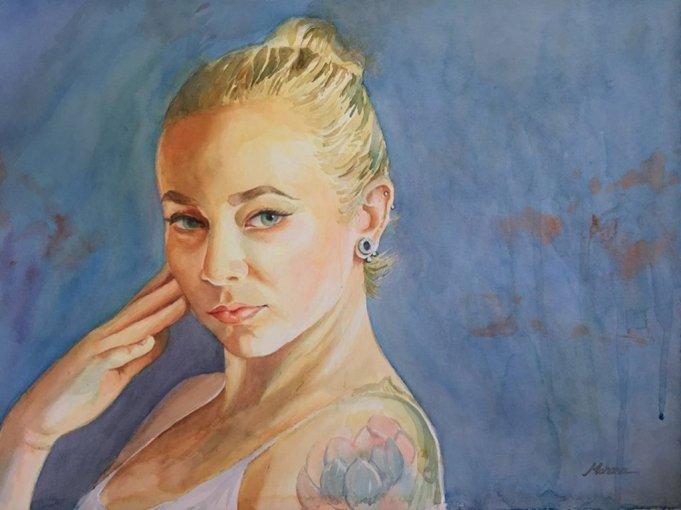 Woman's Portrait Watercolor Painting by Mohana Pradhan - Doodlewash