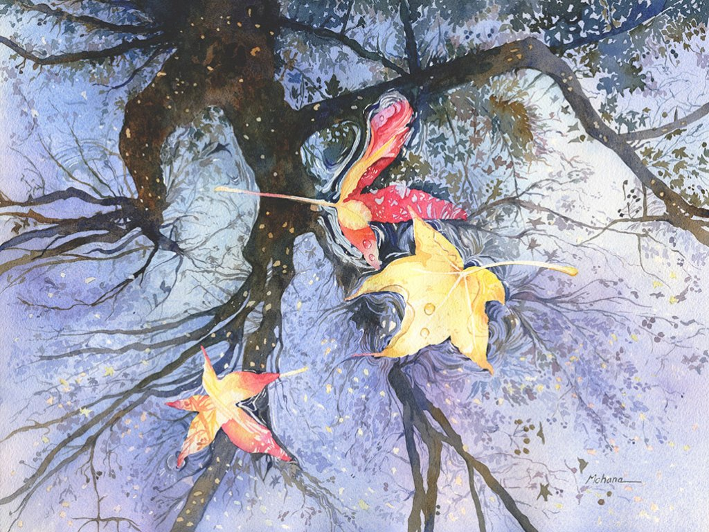 Fall Leaves Watercolor Painting by Mohana Pradhan - Doodlewash