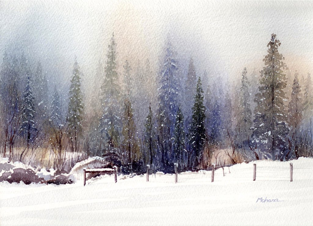Landscape Watercolor Painting by Mohana Pradhan - Doodlewash