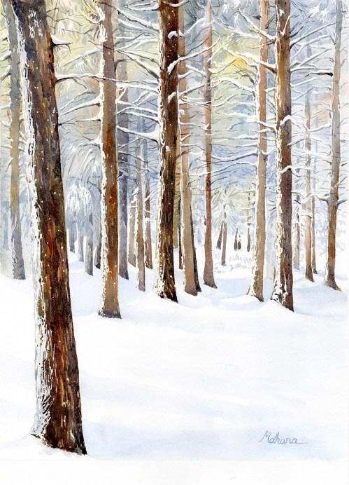 Snowy Woods Watercolor Painting by Mohana Pradhan - Doodlewash