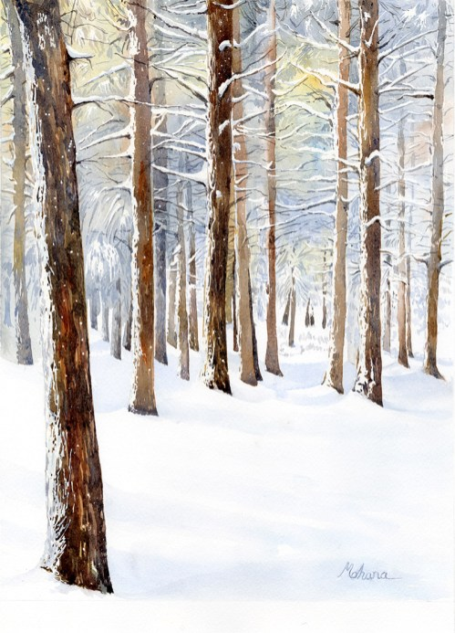 Snowy Woods Watercolor Painting by Mohana Pradhan - Doodlewash