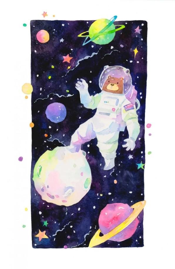 Bear Astronaut Illustration by Jiaqi He (PenelopeLovePrints) - Doodlewash