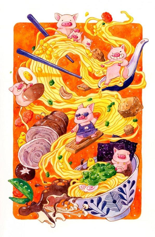 Tonkatsu Ramen Illustration by Jiaqi He (PenelopeLovePrints) - Doodlewash