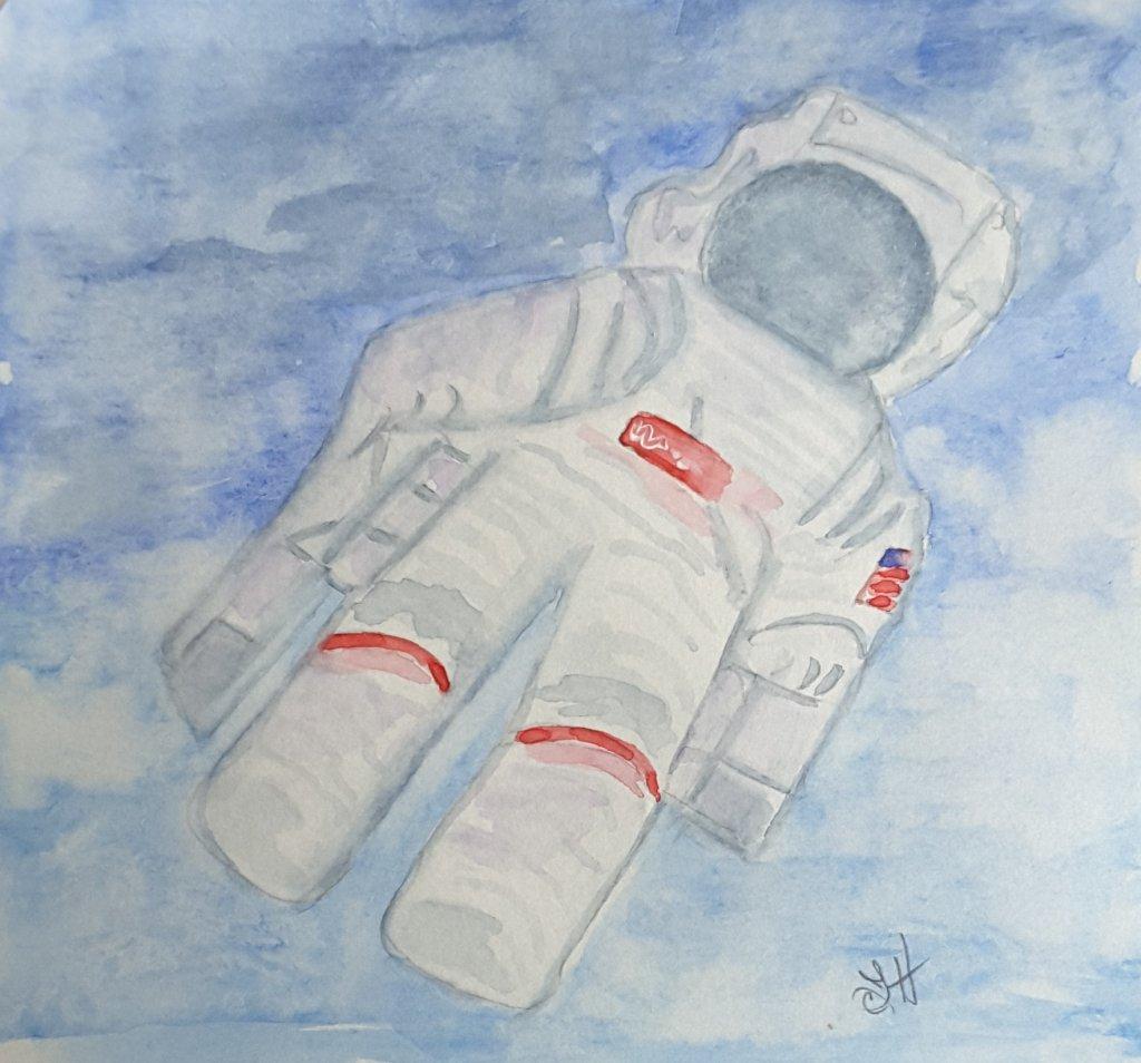 "#doodlewash2019 #WorldWatercolorGroup Day 17 ""Astronaut"" 20190417_102653"