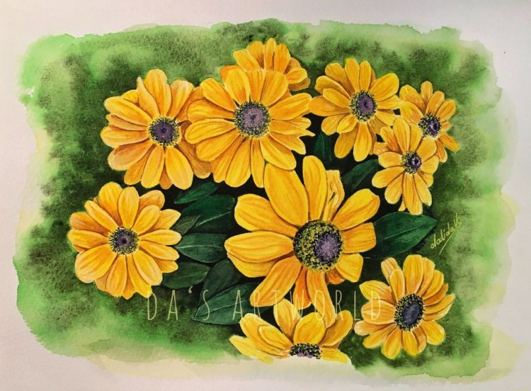 Some yellow flowers in watercolor – from my own reference photo Done on Saunders Waterford col