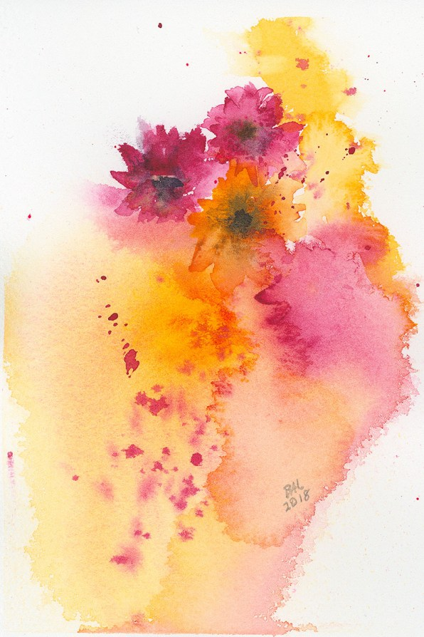 Atmospheric Flowers Watercolor Painting by Bette-Ann LaBerge