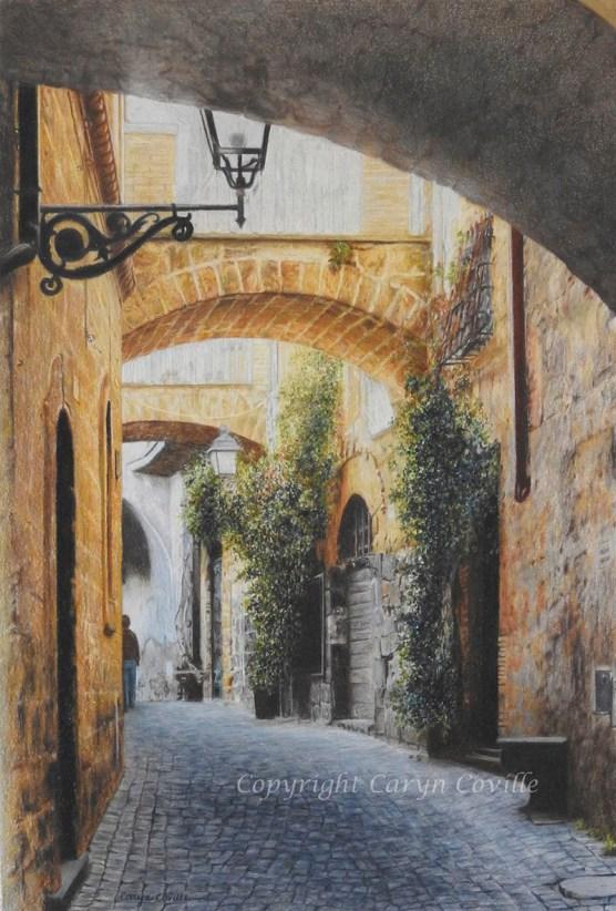 Wandering Orvieto, Colored Pencil - C. Coville - Doodlewash