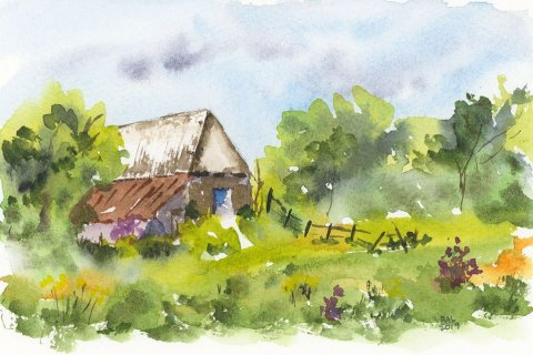 Country Barn Watercolor Painting by Bette-Ann LaBerge