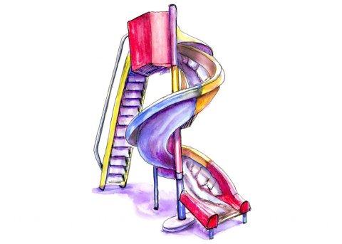 Day 10 - Tornado Slide Playground Illustration - Doodlewash