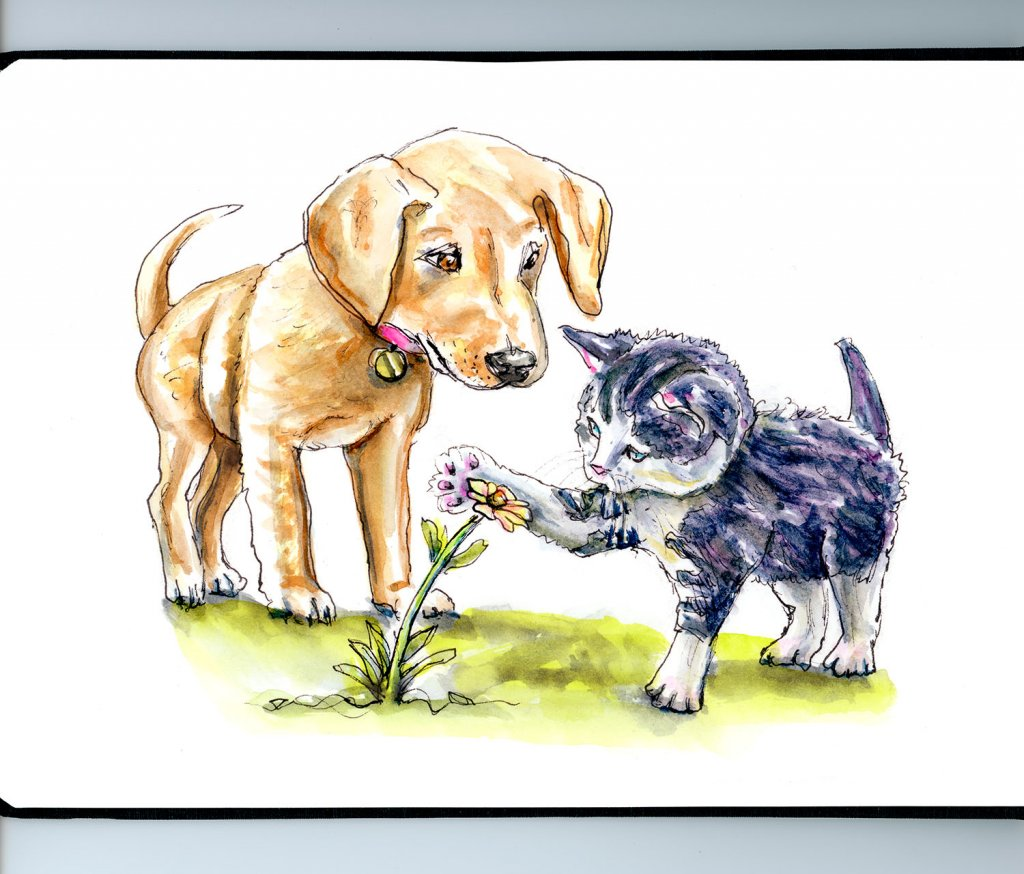 Dog And Cat Illustration Watercolor - Doodlewash