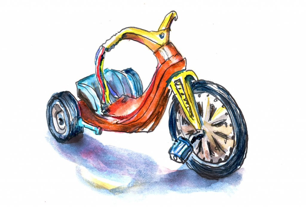 Day 18 - Big Wheel 1970 Illustration Watercolor - Doodlewash