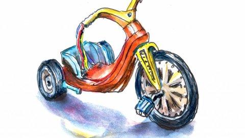 Day 18 - Big Wheel 1970 Illustration Watercolor - Doodlewash
