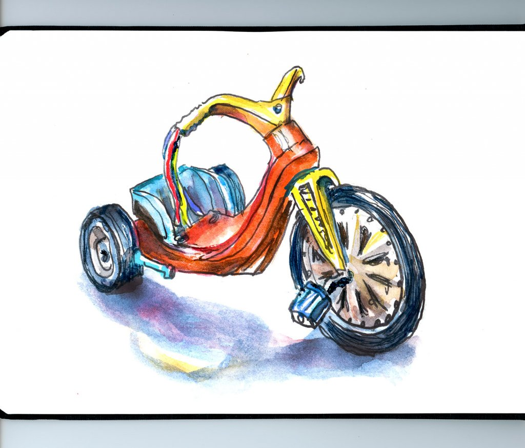 Big Wheel 1970 Illustration Watercolor - Doodlewash
