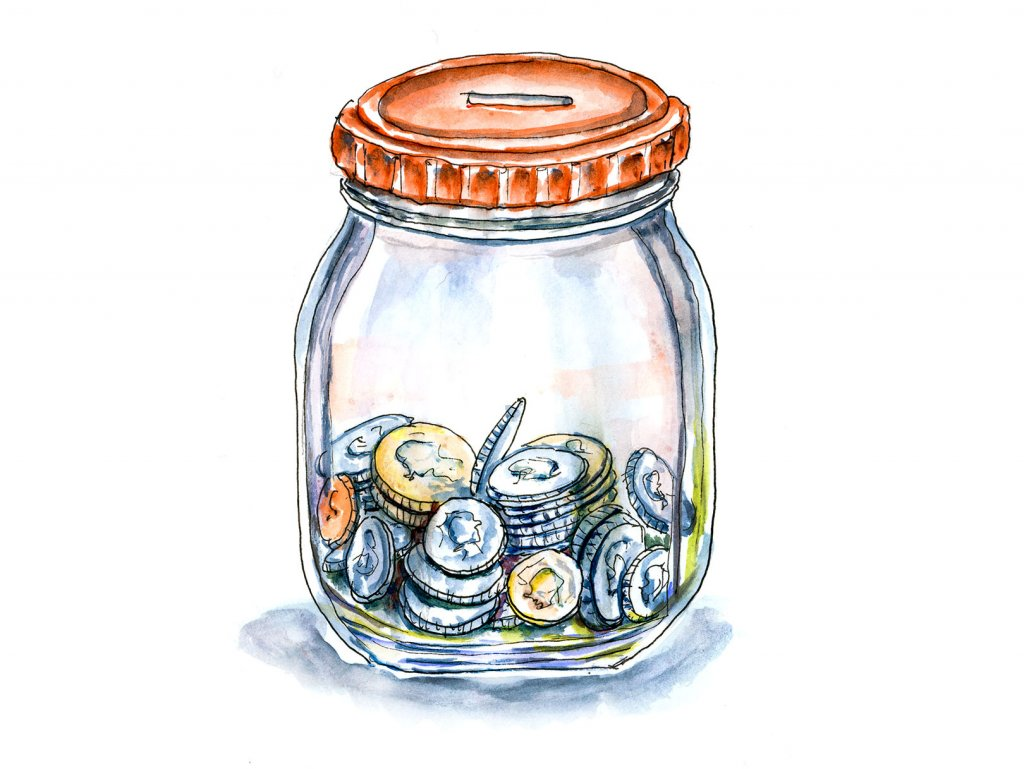Day 29 - Coin Jar Watercolor Illustration - Doodlewash