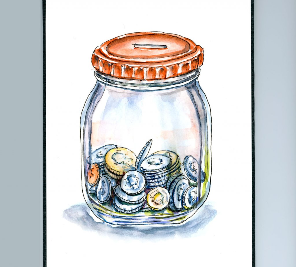 Day 29 - Coin Jar Watercolor Illustration