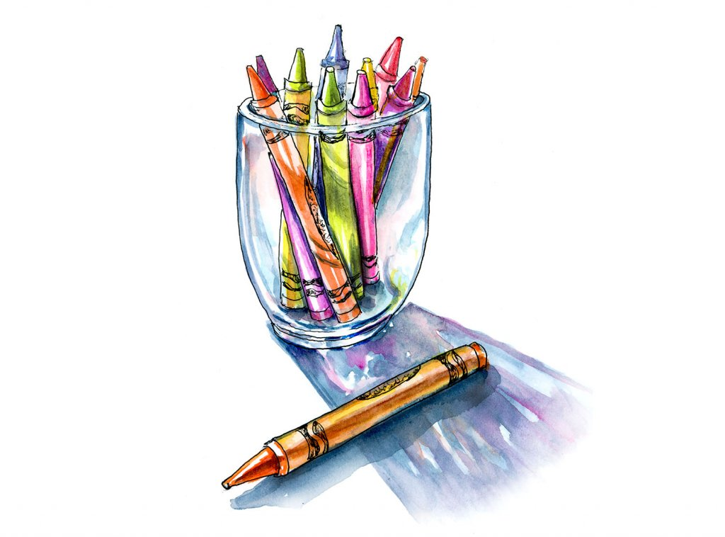 Day 6 - Crayons In A Glass Illustration - Doodlewash