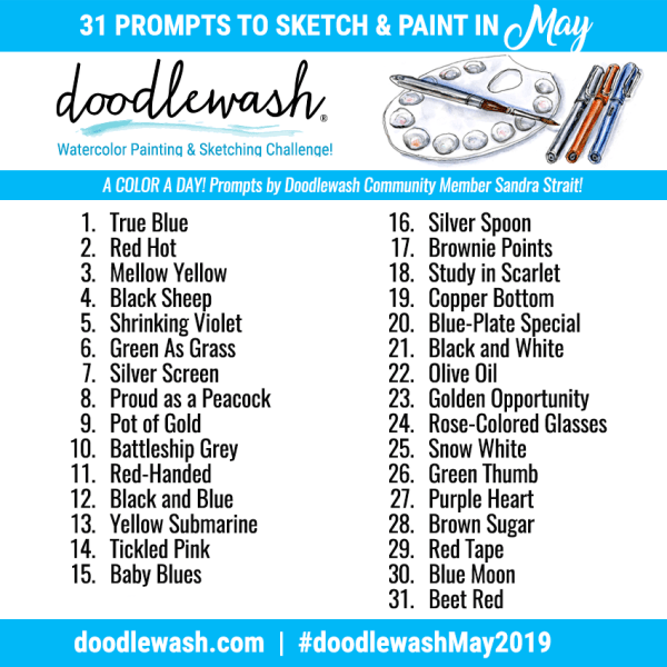 Doodlewash May 2019 Art Challenge A Color A Day