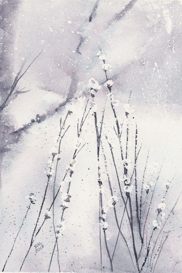 Evening Snowfall Watercolor Painting by Bette-Ann LaBerge