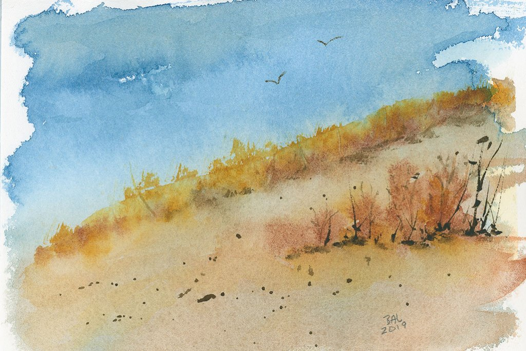 Golden Hills Watercolor Painting by Bette-Ann LaBerge
