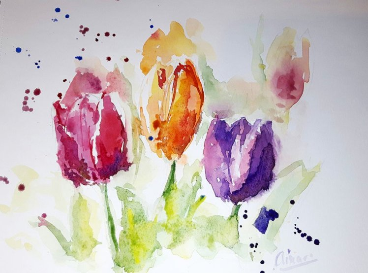 Tulips Watercolor Painting by Ainara Martin