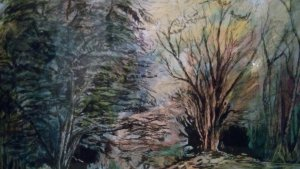 watercolor washes and ink .This is the forest near to me it was a bright day with clouds which seem