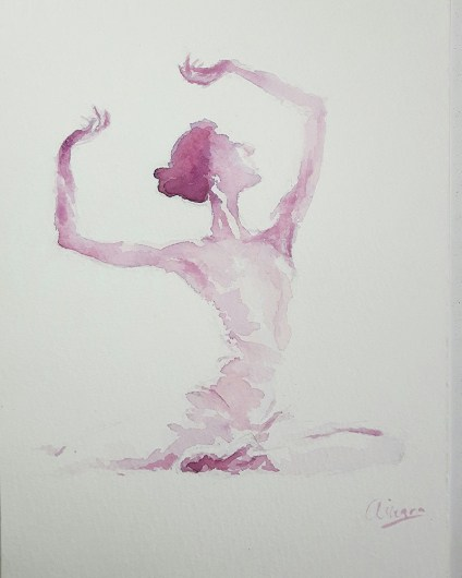 Dancer Watercolor Painting by Ainara Martin
