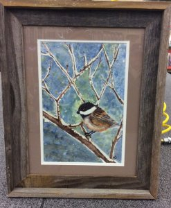 "Commissioned work, a miniature, ""Chilly Chicadee"" #WorldWatercolorGroupIMG_2355"