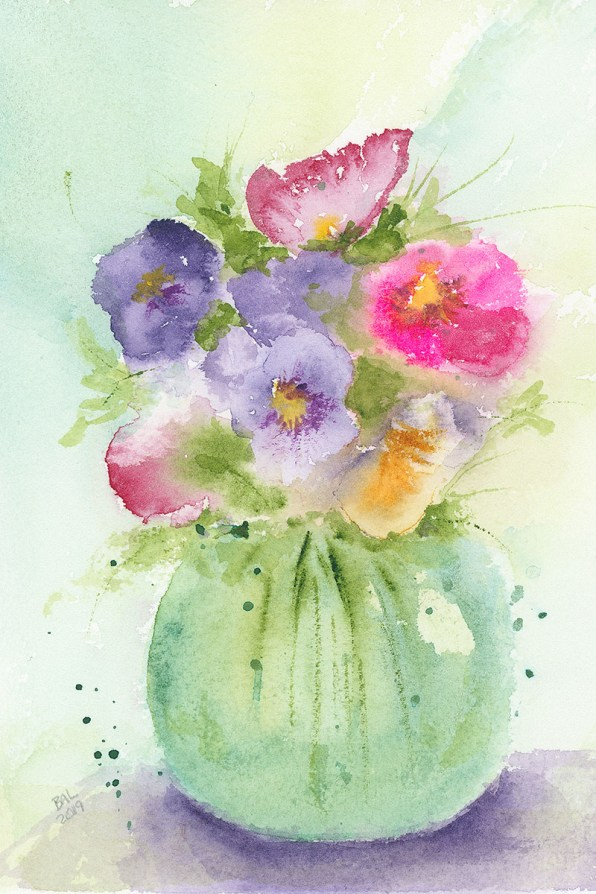 Joyous Pansies Watercolor Painting by Bette-Ann LaBerge