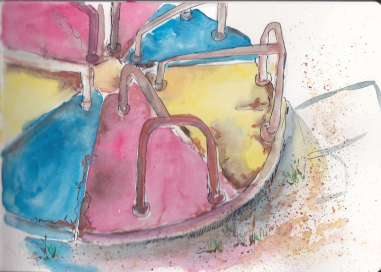Day 10 Prompt-Playgrounds-I found a photo of this rusty old merry-go-round and wonder how I ever sur
