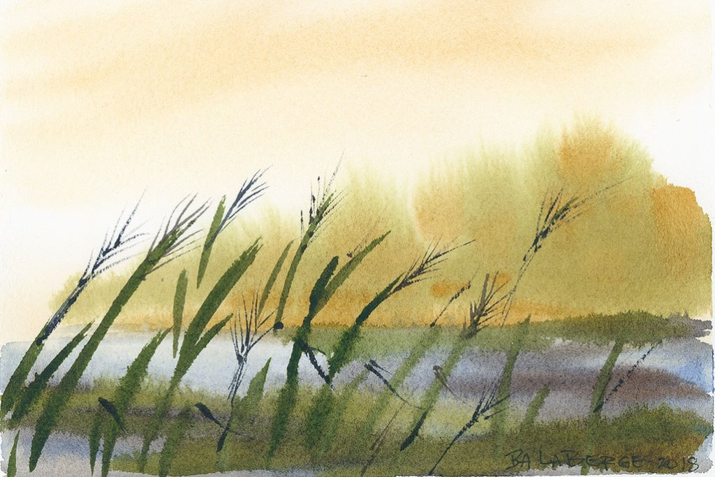 Seaside Watercolor Painting by Bette-Ann LaBerge