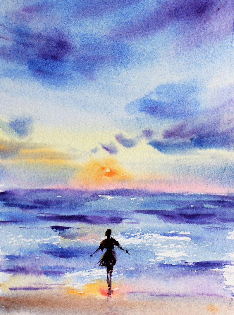 Woman Sunset Watercolor Painting by Qinghong Wei - Doodlewash