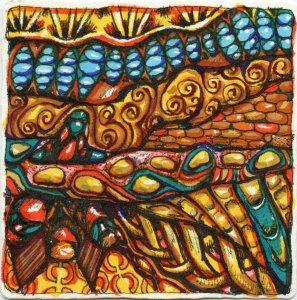 Underground City-Zebra Sarasa Grand & Arteza Watercolor brushes on Hahnemühle YouTangle Tile. T