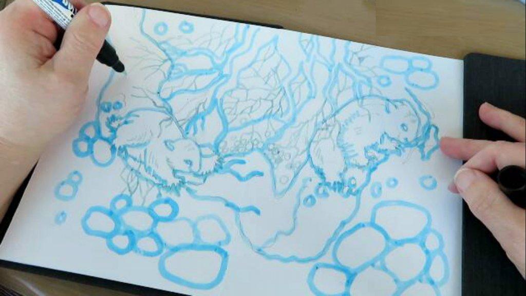 Masking Fluid Pen Example - Doodlewash