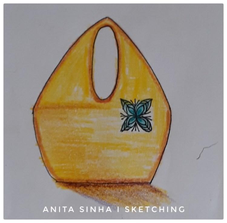 Day 13 – May colour challenge : Yellow. The yellow handbag. #doodlewashMay2019 #WorldWatercolo