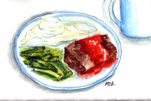 5/20/19 Blue Plate Special Meatloaf, Green Beans and Mashed Potatoes with real butter and of course