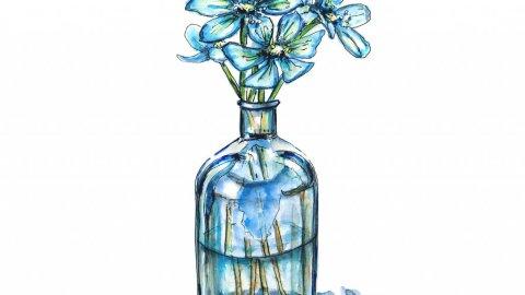 True Blue Flowers Vase Illustration - Doodlewash