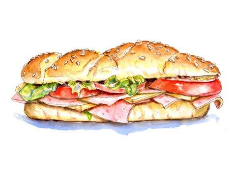 Sub Sandwich Illustration - Doodlewash