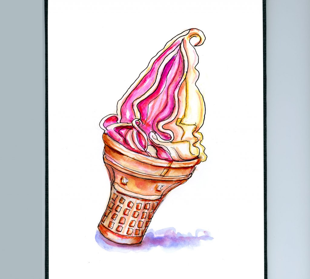 Day 14 - Ice Cream Cone Illustration - Doodlewash