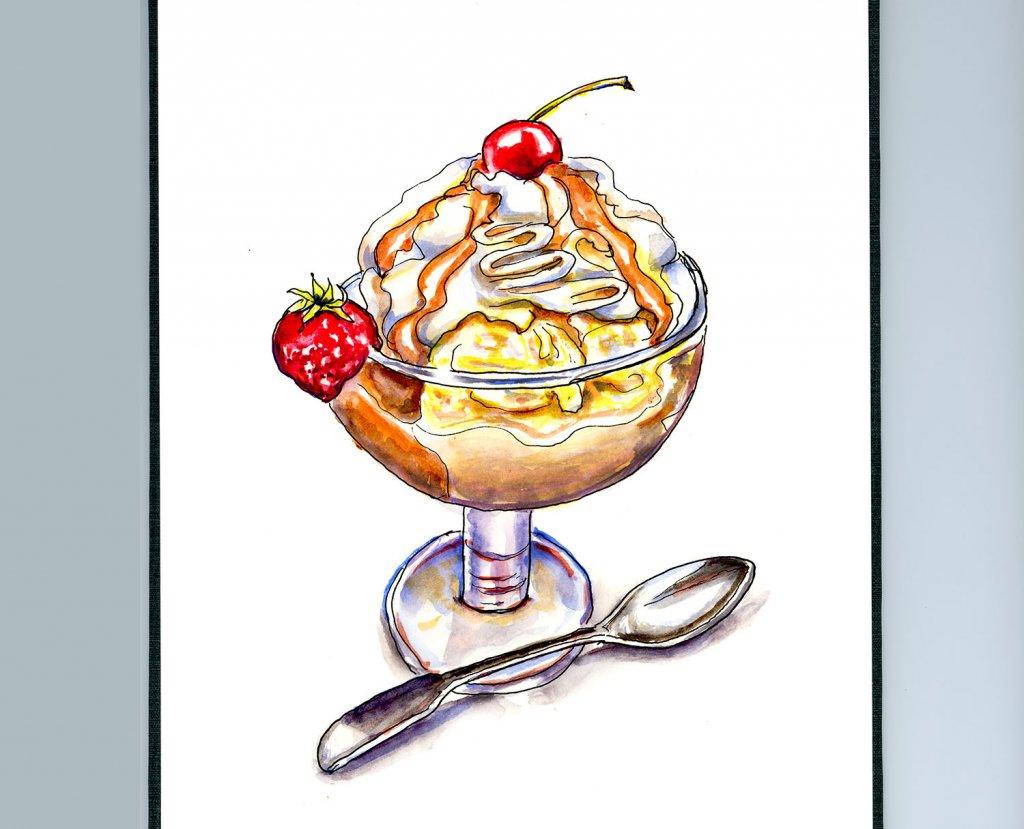 Day 16 - Dessert Silver Spoon Illustration - Doodlewash