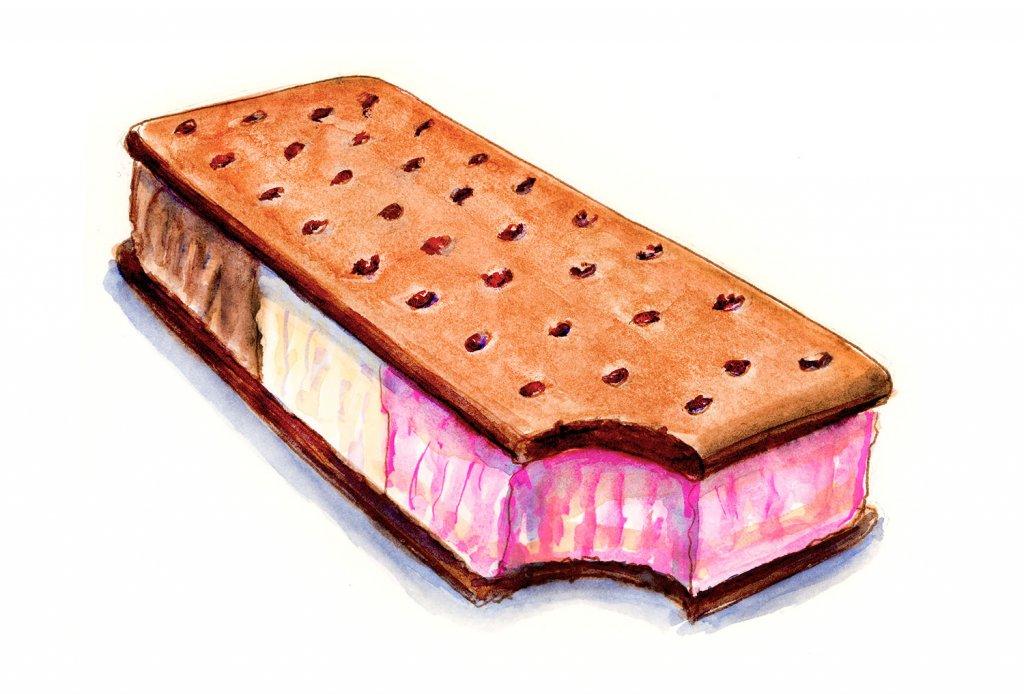 Ice Cream Sandwich Neapolitan Illustration - Doodlewash