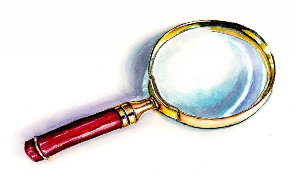 Magnifying Glass Sherlock Holmes Illustration - Doodlewash