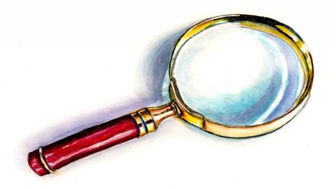 Magnifying Glass Sherlock Holmes Illustration - Doodlewash