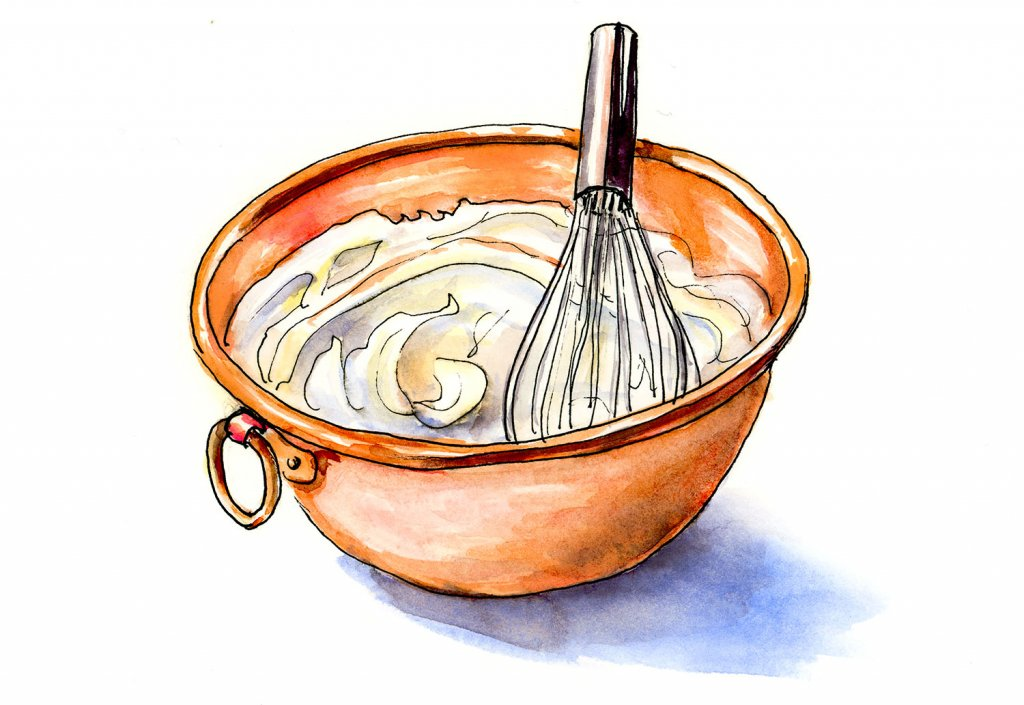 Copper Bowl Whipped Cream Illustration - Doodlewash